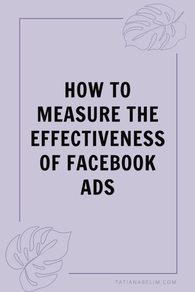 How To Measure The Effectiveness of Facebook Ads | Tatiana Belim